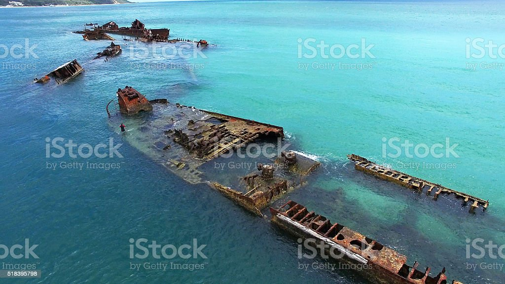 Tangalooma Shipwrecks from above stock photo
