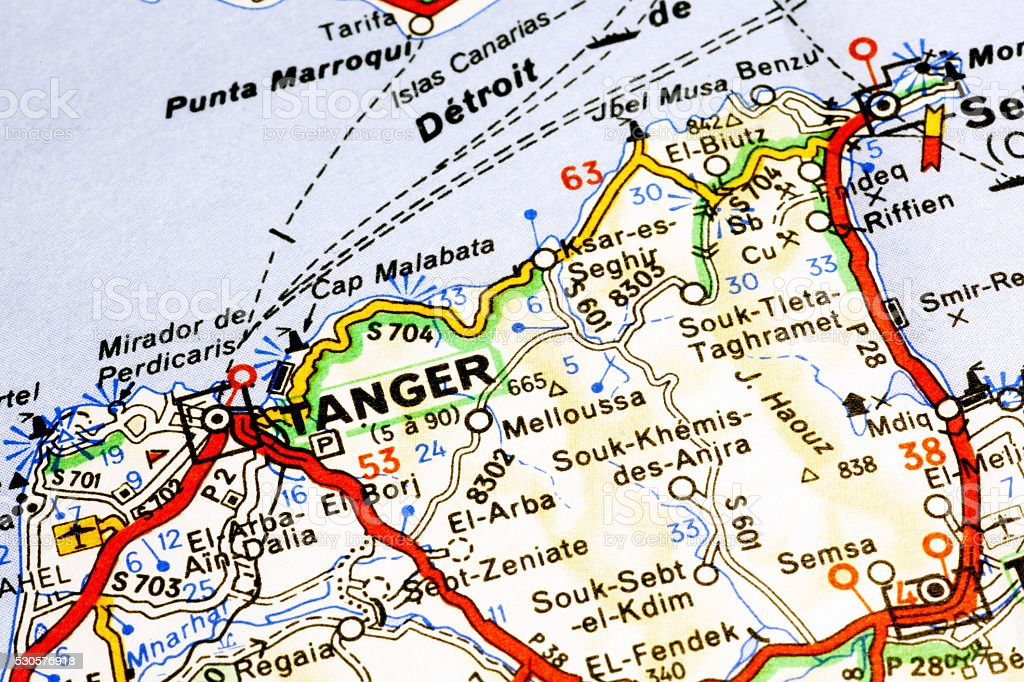 Tanger area on a map stock photo
