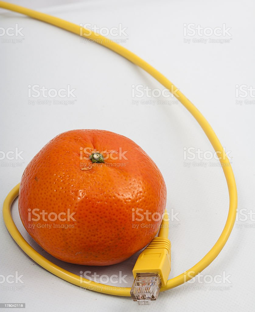 Tangerine connected royalty-free stock photo