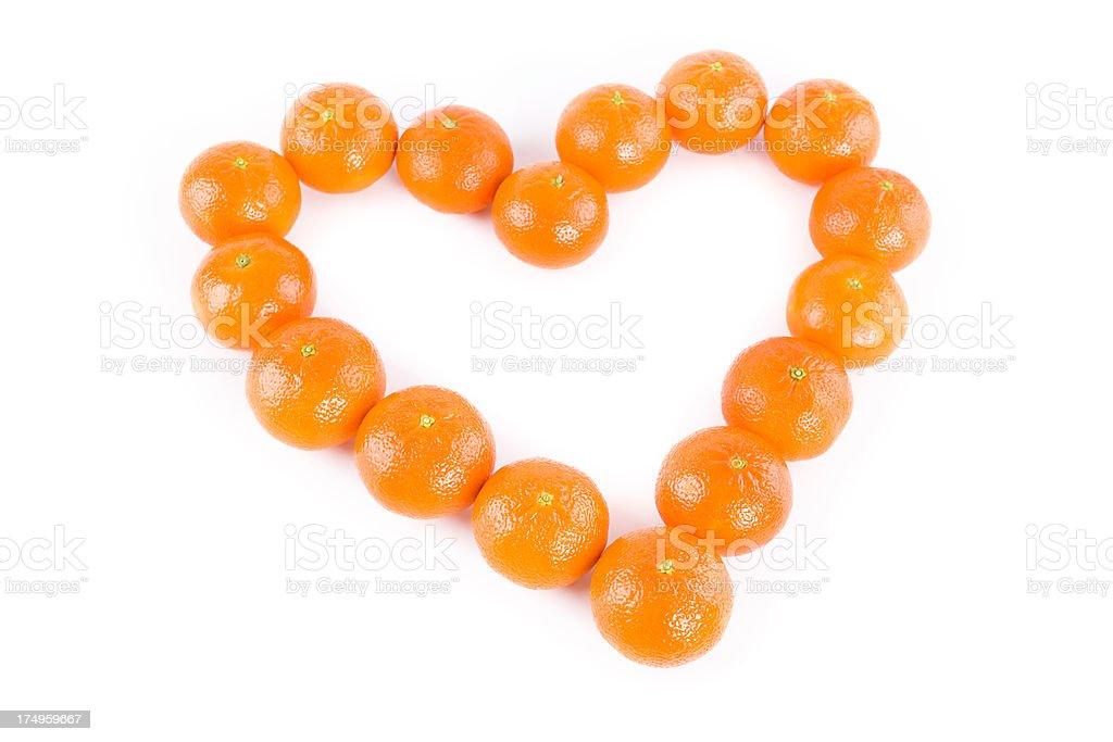 tangerine heart royalty-free stock photo