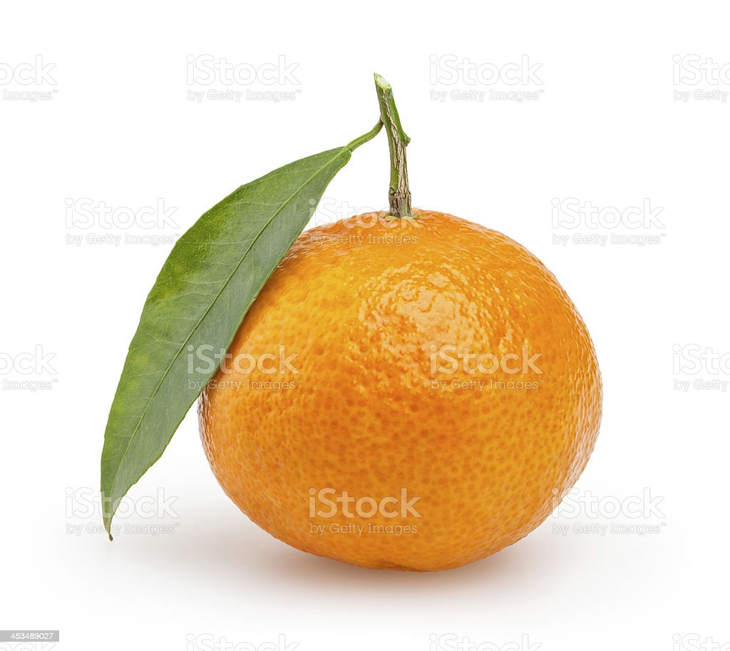 Tangerine isolated on white with clipping path stock photo