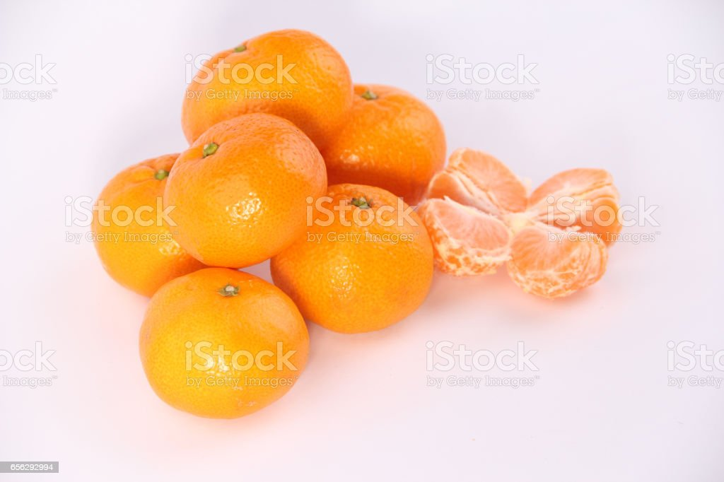 tangerine or mandarin fruit isolated on white background cutout stock photo