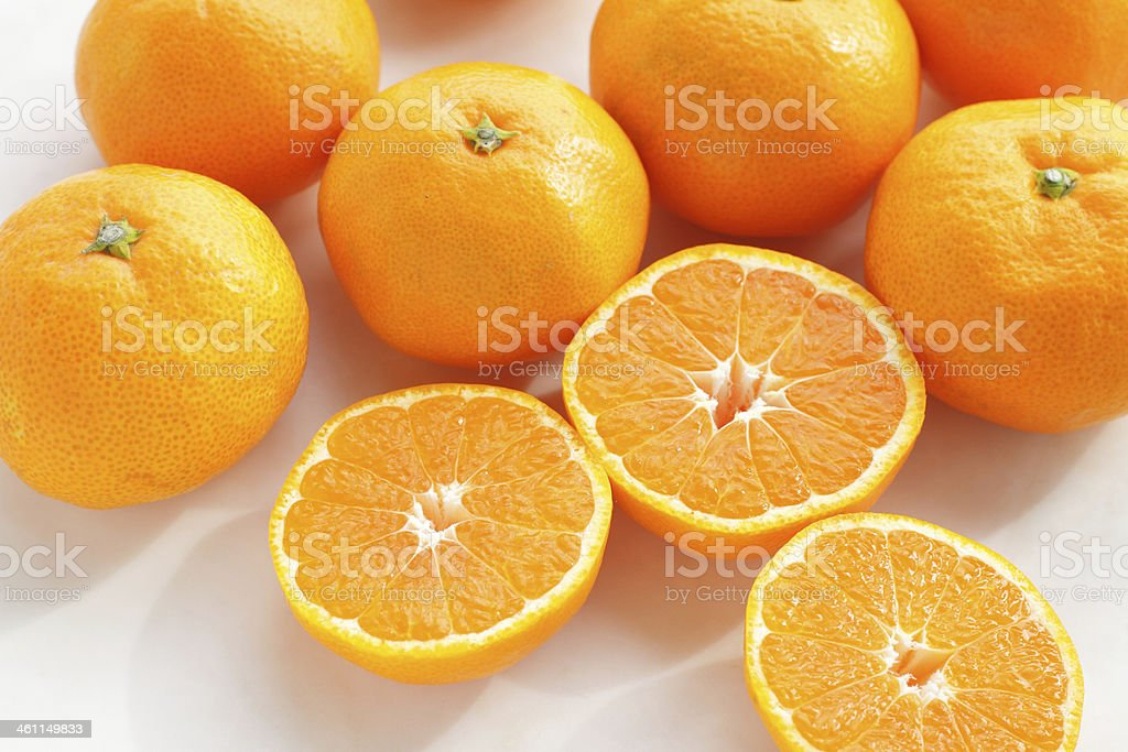 Tangerine Oranges, isolated on white stock photo