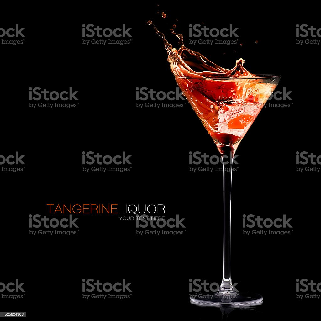 Tangerine Schnapps. Exotic Cocktail Splashing Out stock photo