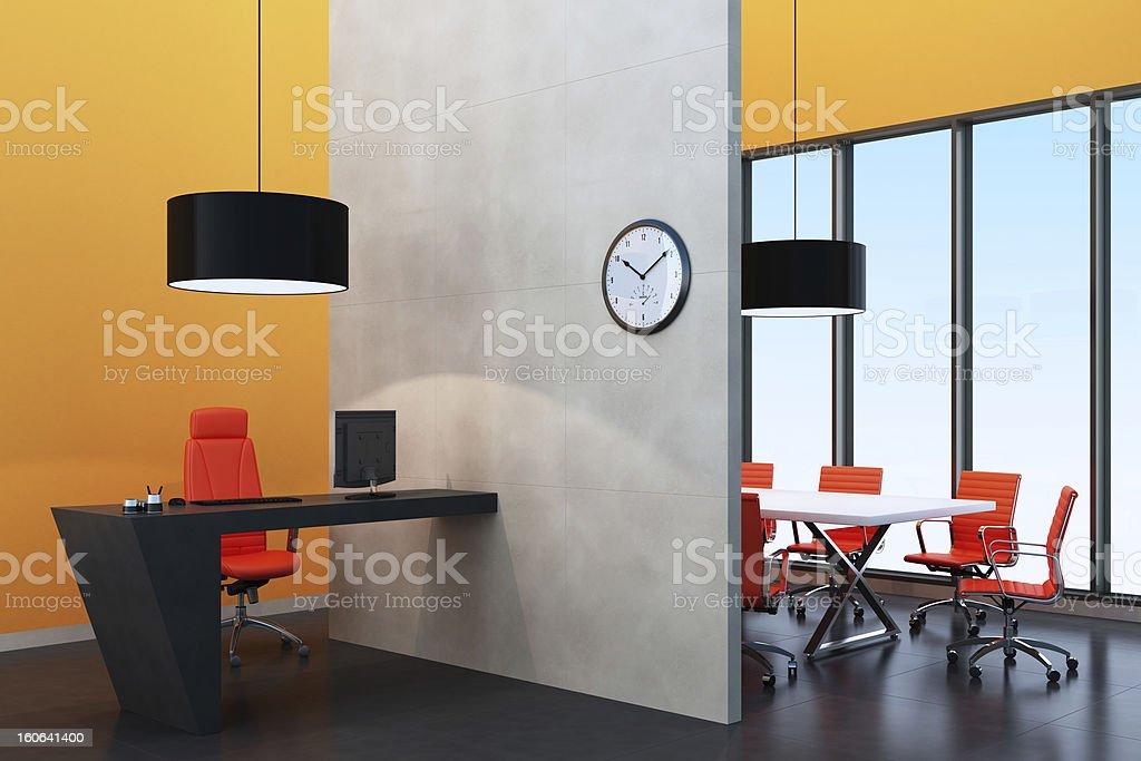 Tangerine Tango Office Room stock photo