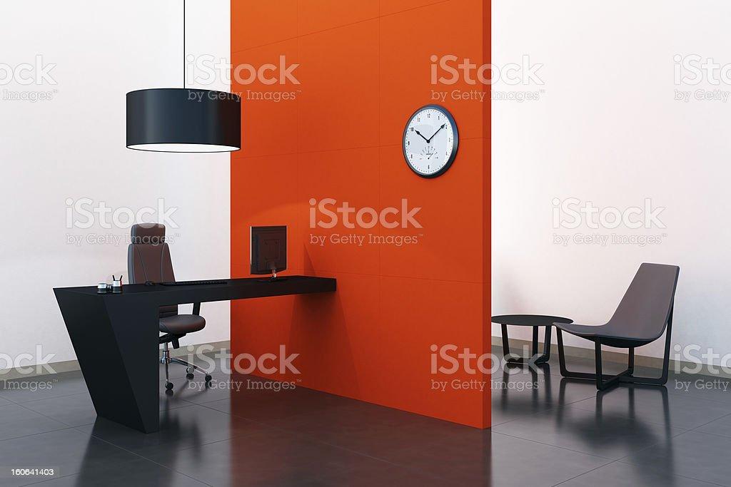 Tangerine Tango Office Room royalty-free stock photo