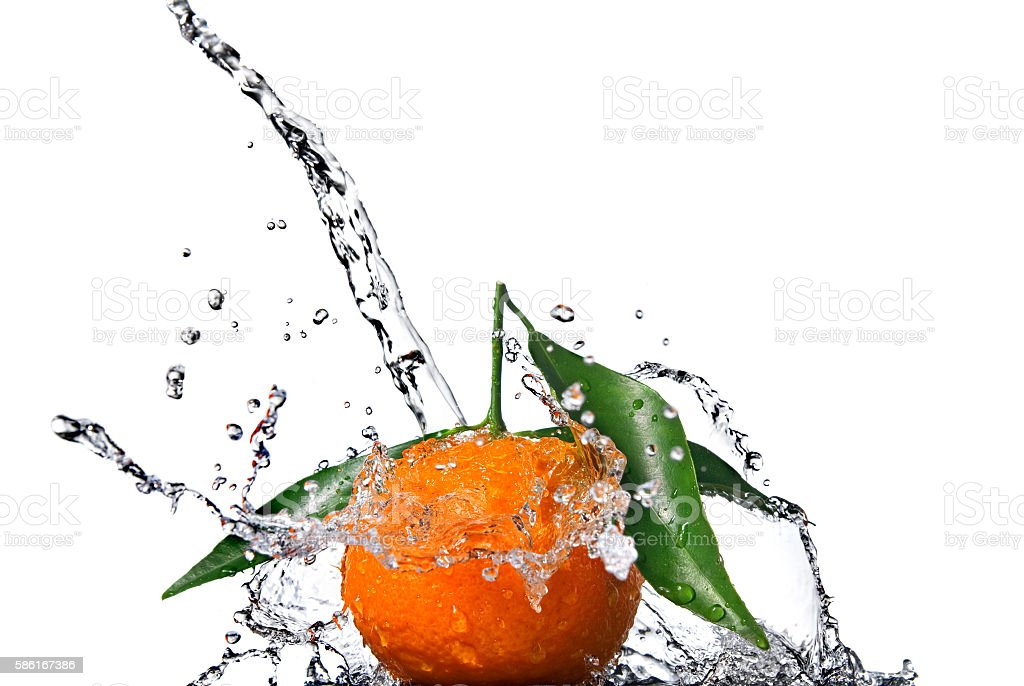 Tangerine with green leaves and water splash isolated on white stock photo