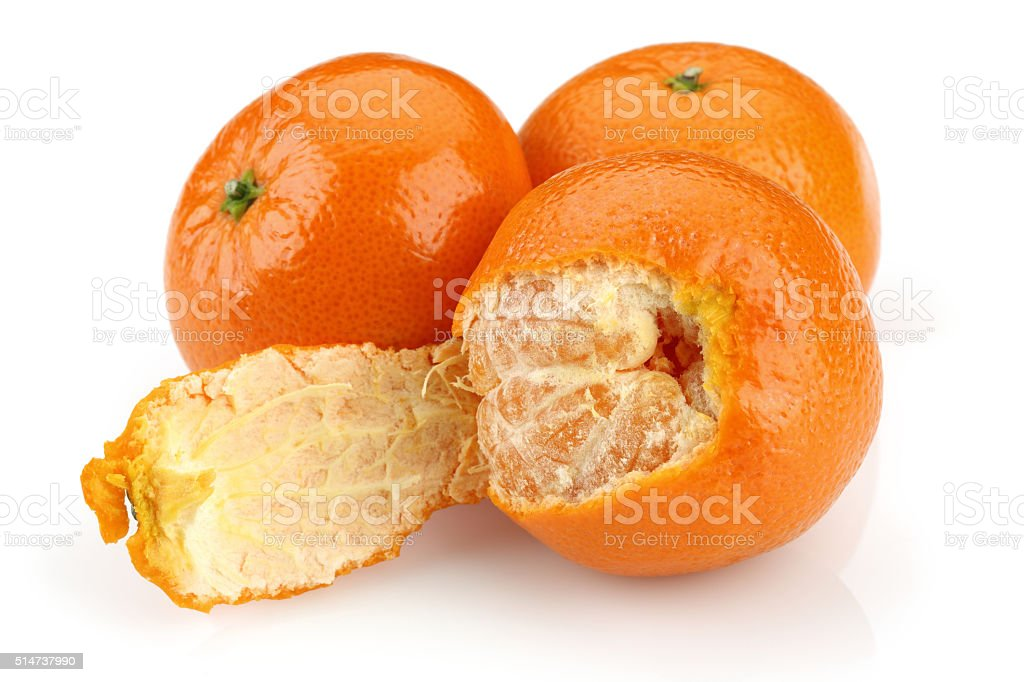 Tangerine with peeled stock photo