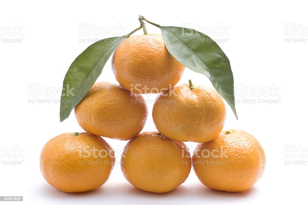 Tangerines forming pyramid royalty-free stock photo