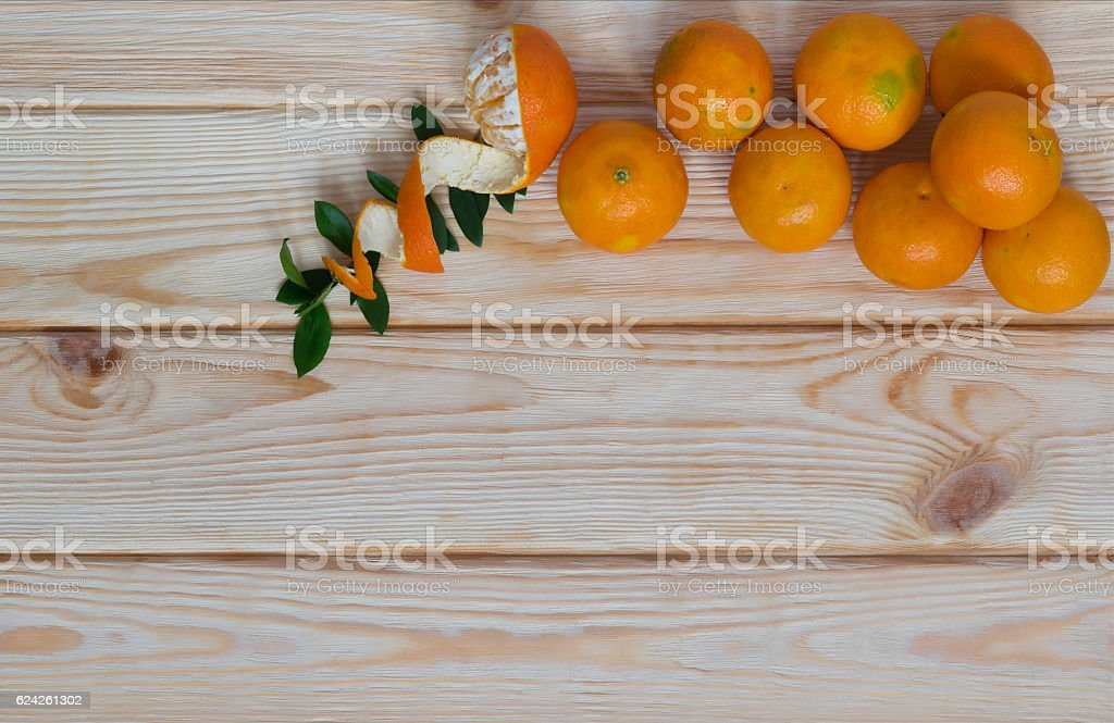 tangerines on a board with a place for an inscription stock photo