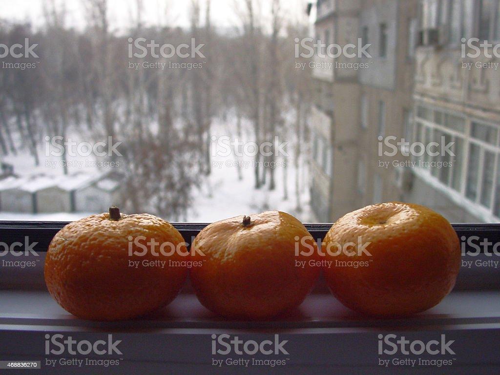 tangerines sur windowsill. photo libre de droits