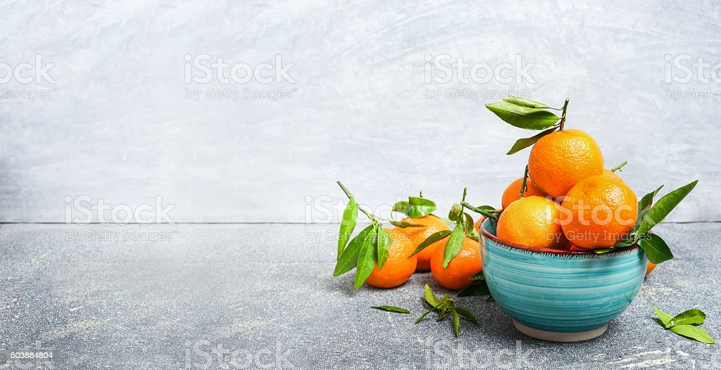 Tangerines with leaves , banner stock photo