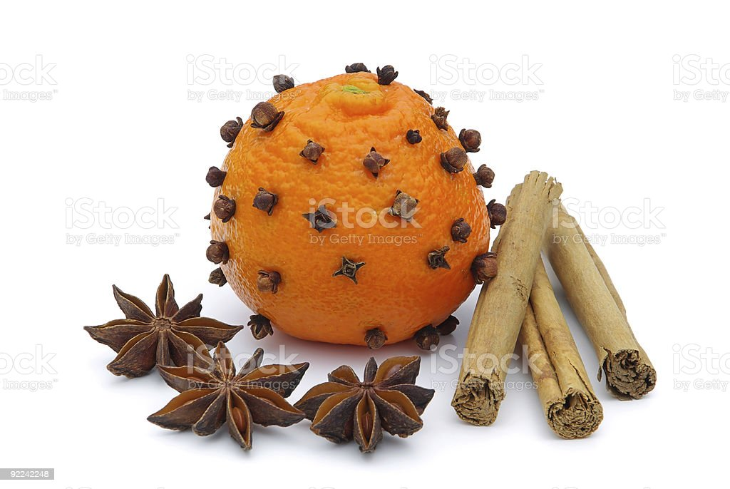 tangerines-clove royalty-free stock photo