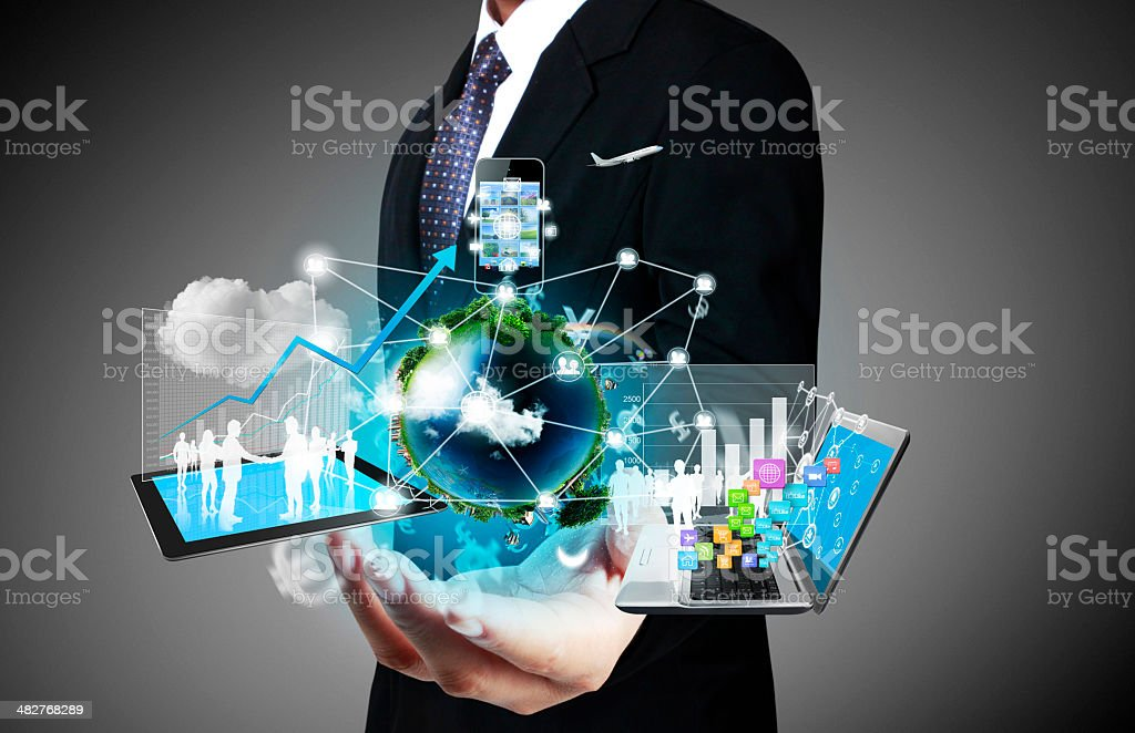 Tangible technology of business concept stock photo