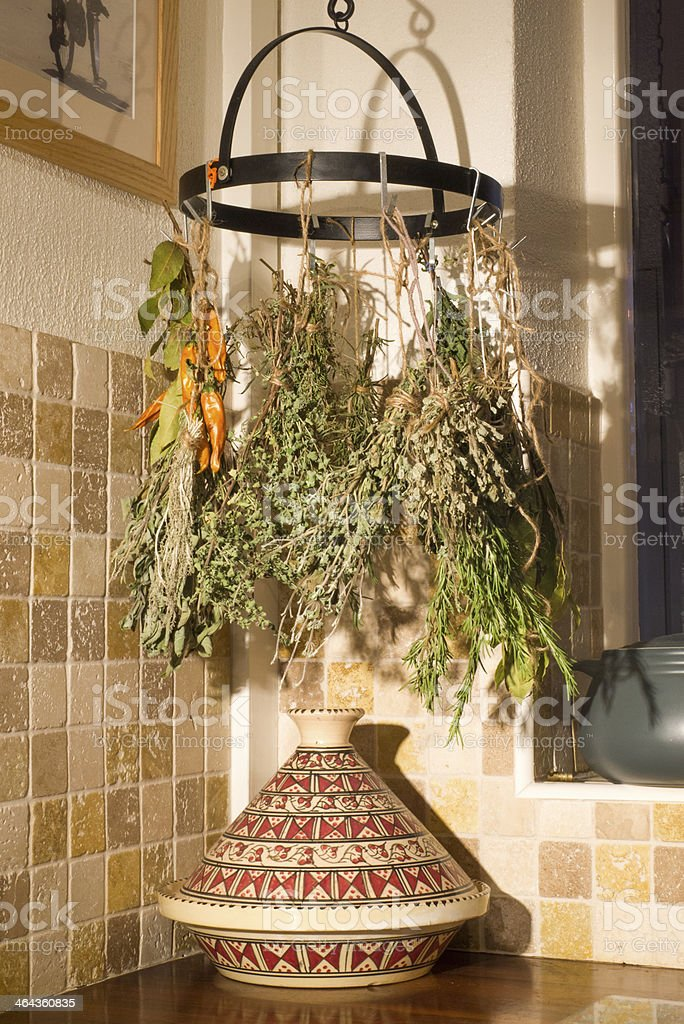 Tangine and Herbs stock photo