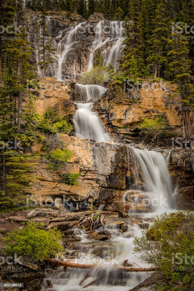 Tangle Creek Falls, Jasper National Park, Alberta, Canadian Rockies, Canada. stock photo