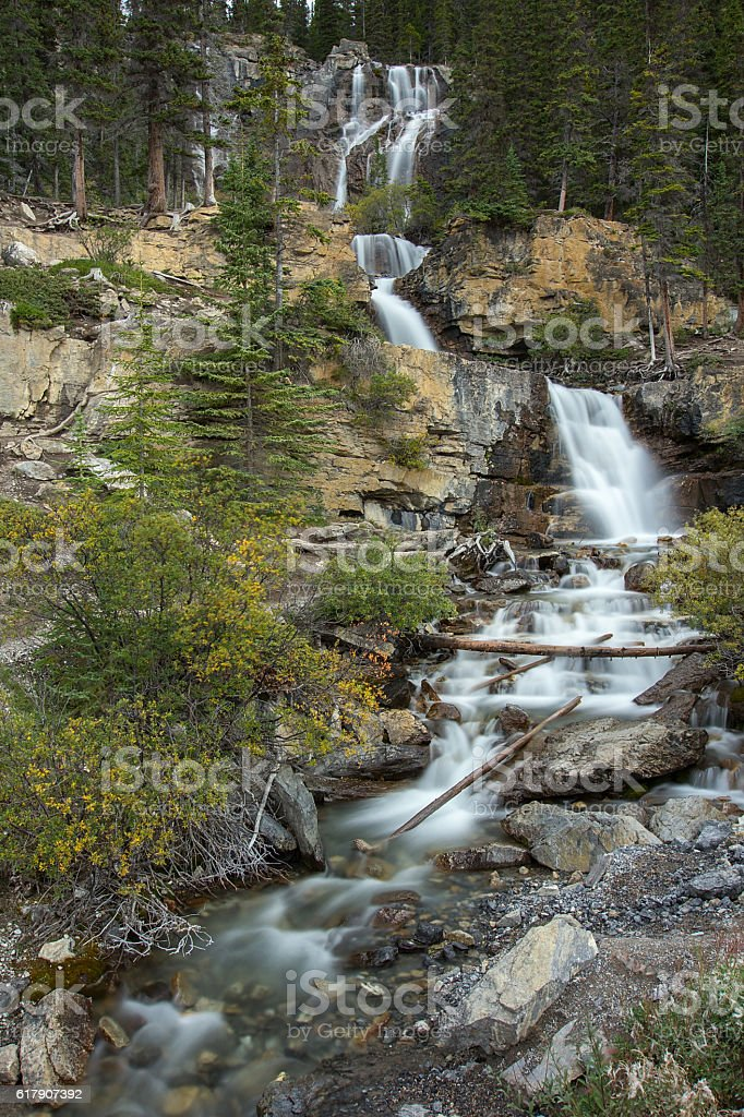 Tangle Falls on Icefield Parkway, Alberta, Canada stock photo