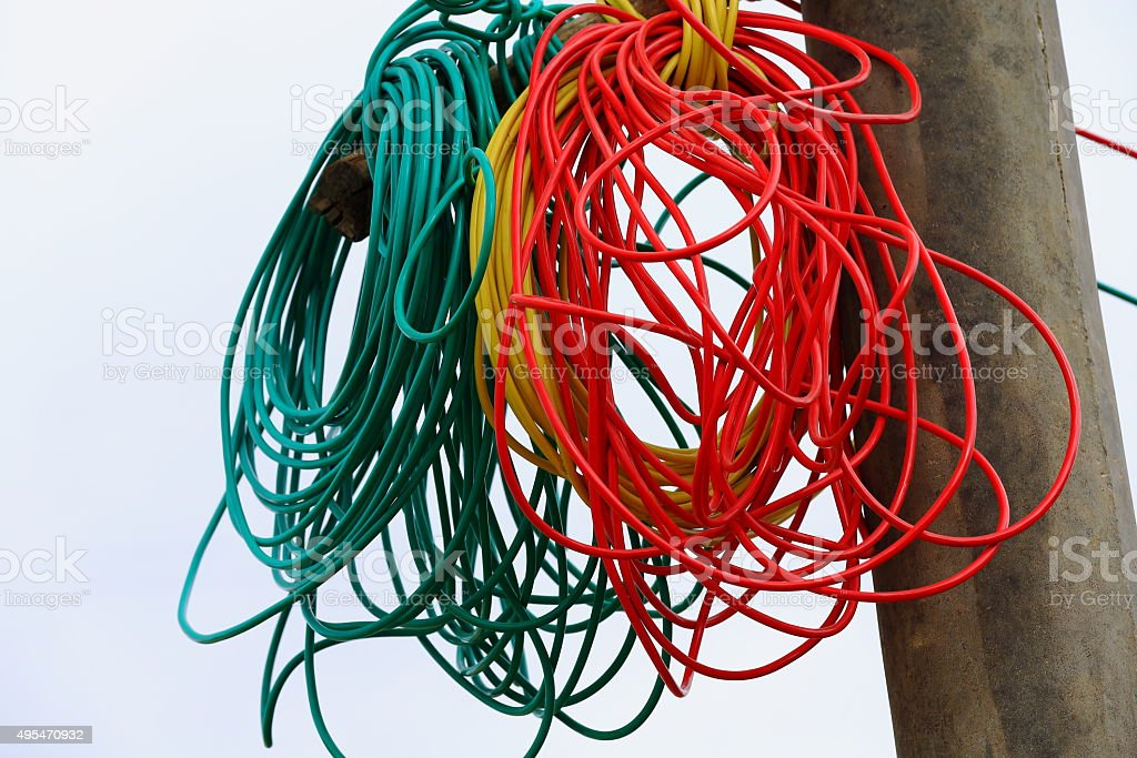 Tangle of electrical wires-street in a hamlet near Shigatse-Tibet. 1775 stock photo