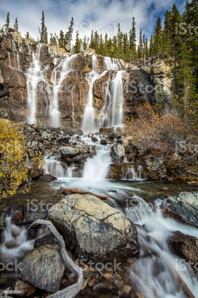 Tangle waterfall on the Icefield Parkway stock photo