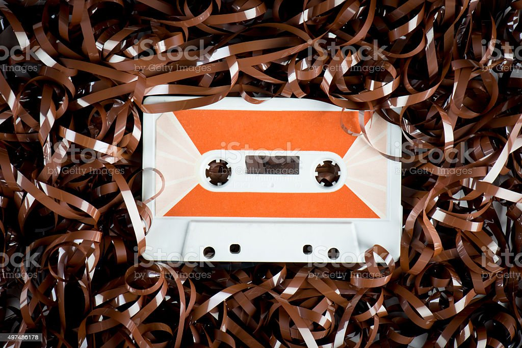 Tangled and messed up audio tape stock photo