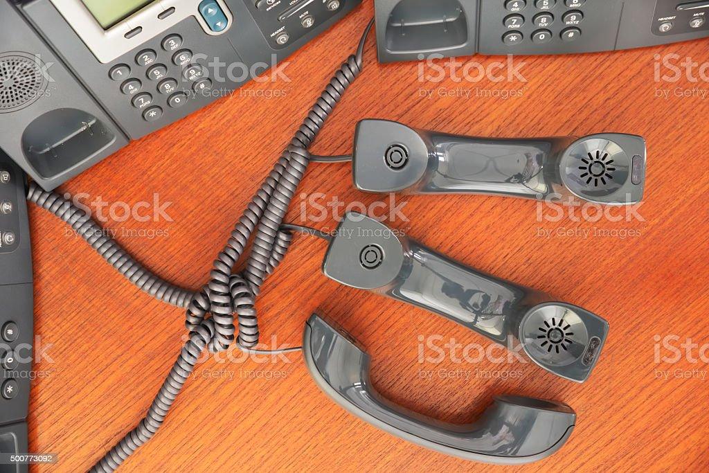 Tangled business phone stock photo