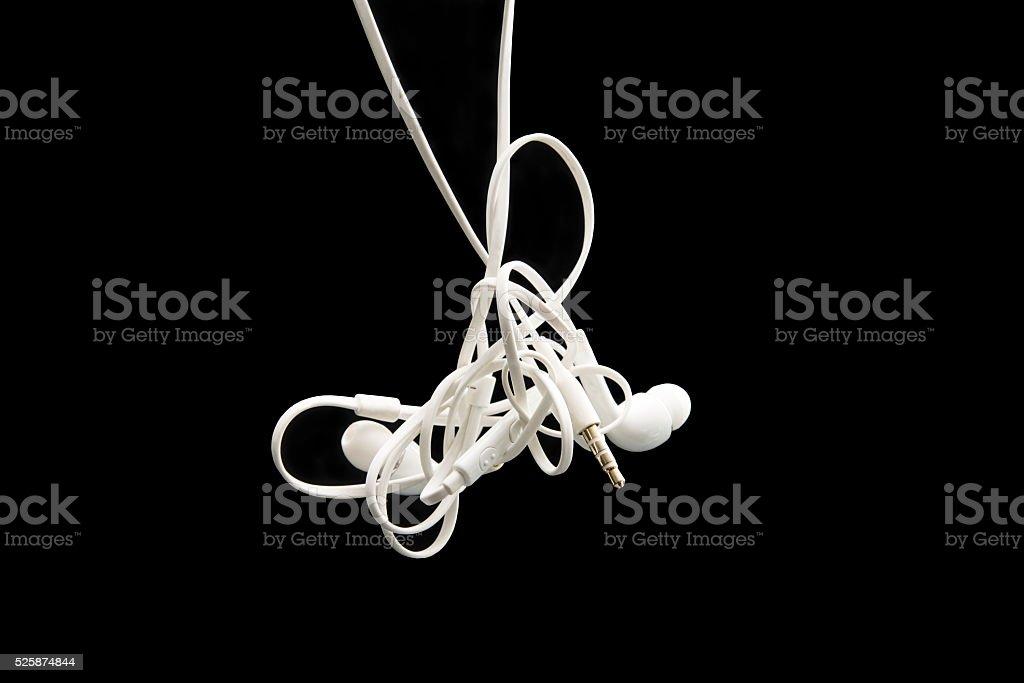 Tangled Eareuds stock photo