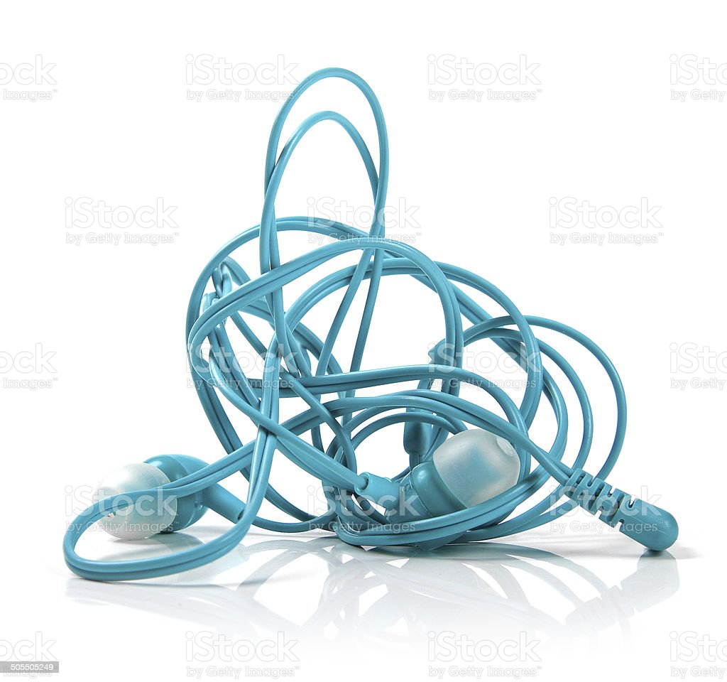 tangled earphones isolated on white stock photo