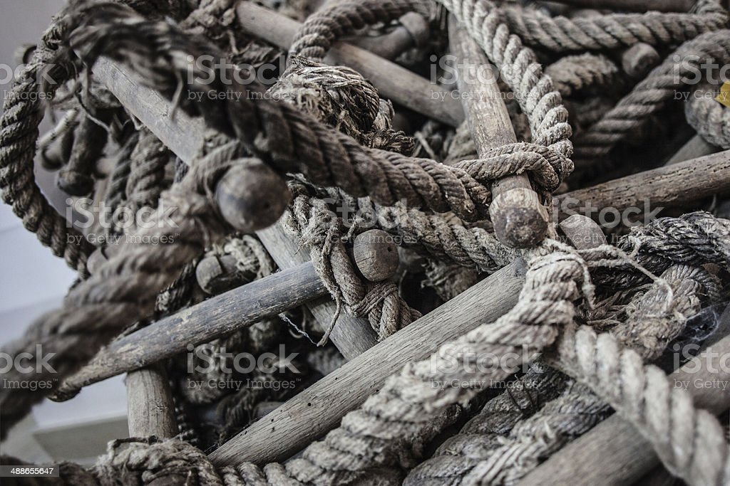 Tangled rope ladder stock photo