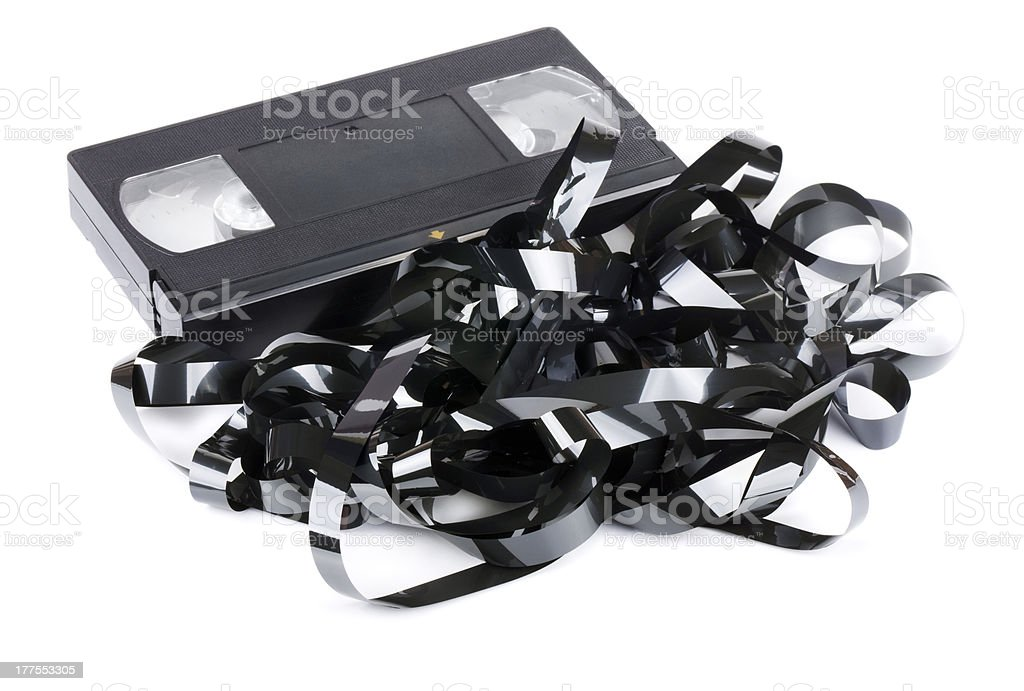 Tangled video tape stock photo
