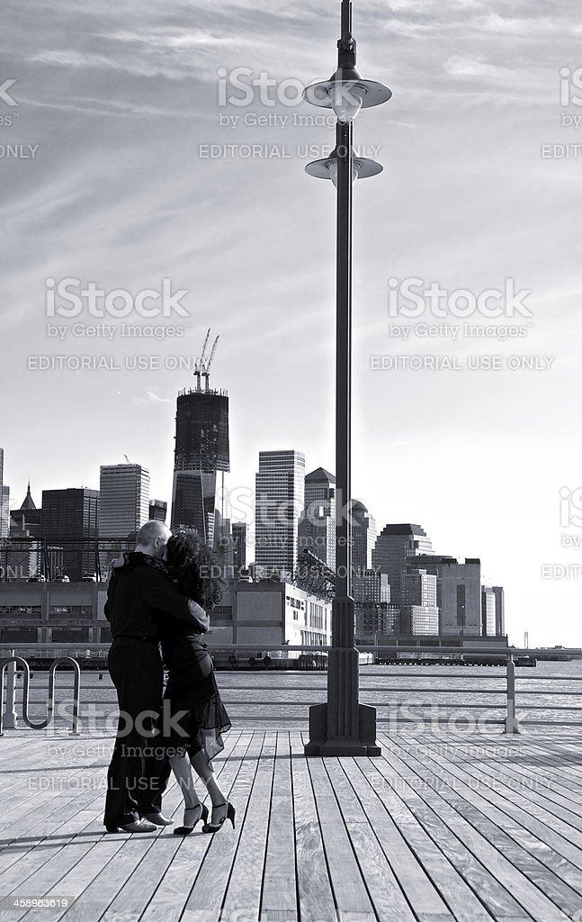 Tango dancing on a Hudson River Pier, Manhattan, NYC royalty-free stock photo