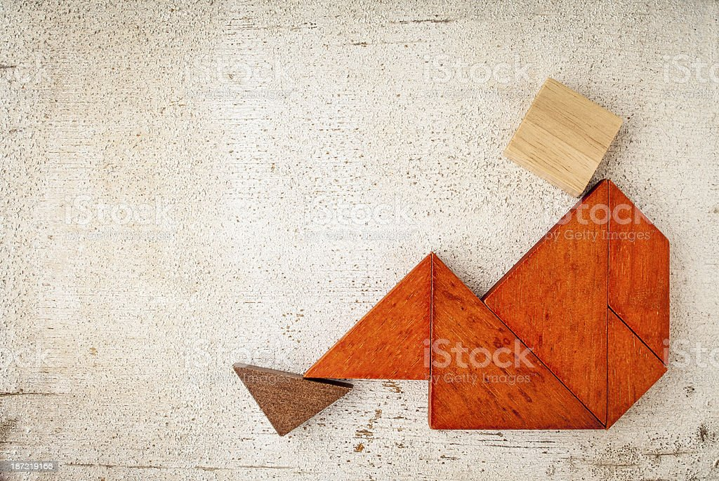 tangram sitting figure royalty-free stock photo