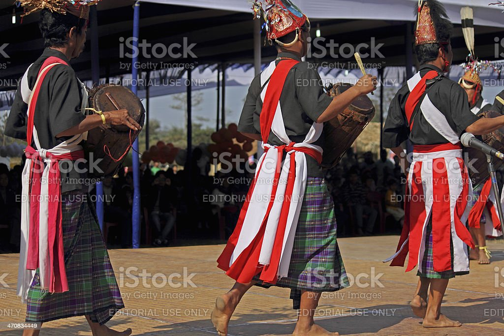 Tangsa, Lungchang Tribes performing dance stock photo