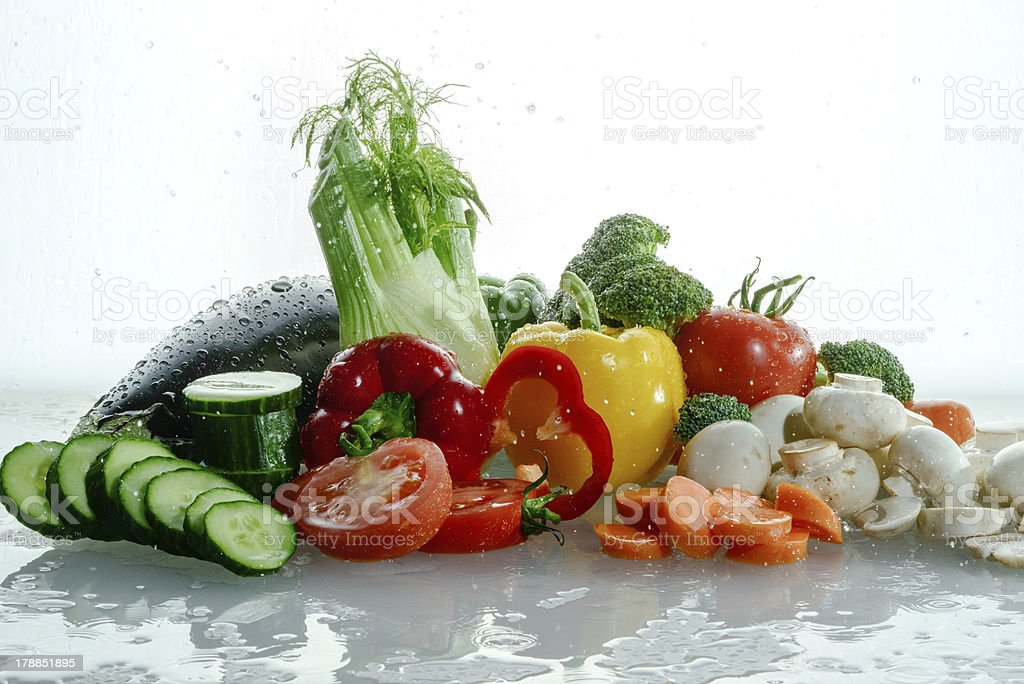 Tangy wet raw vegetables royalty-free stock photo