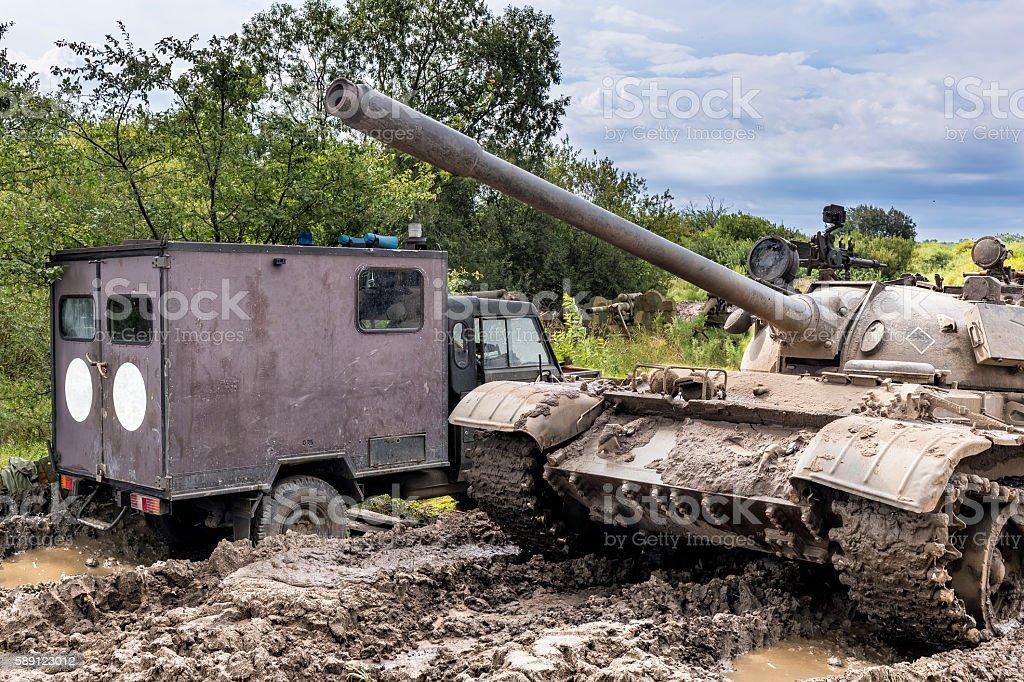 Tank and ambulance stock photo