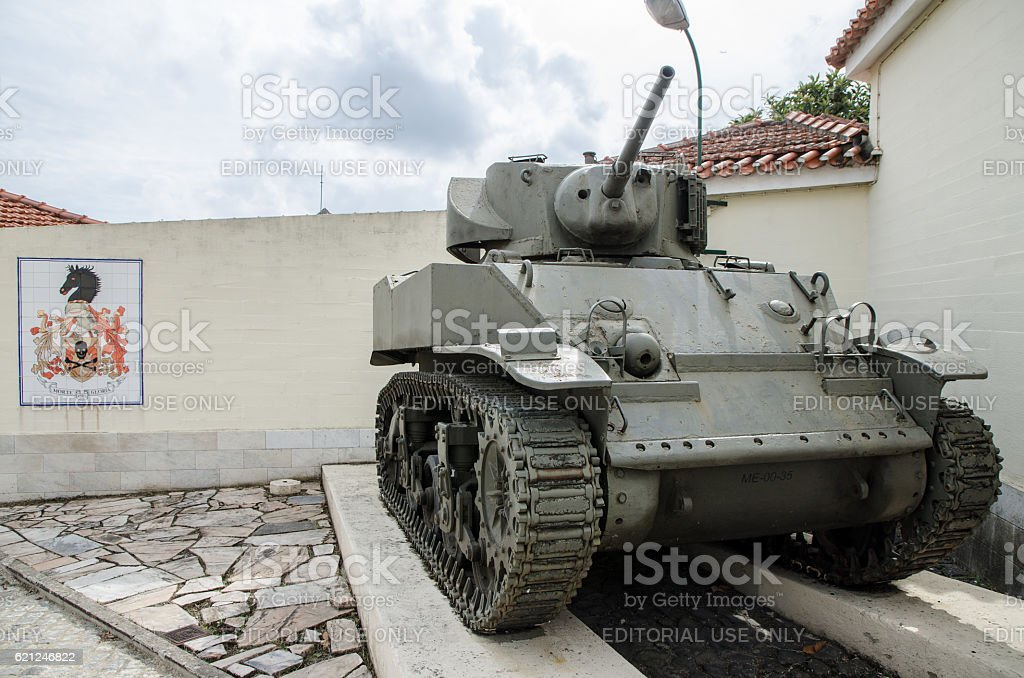 Tank and Coat of arms of Lisbon Army Regiment stock photo