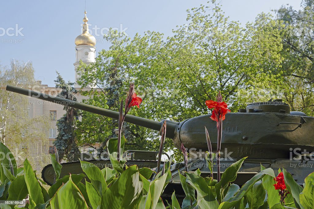 Tank and Flowers stock photo
