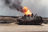 Tank and oil well fire, Kuwait, Persian Gulf War