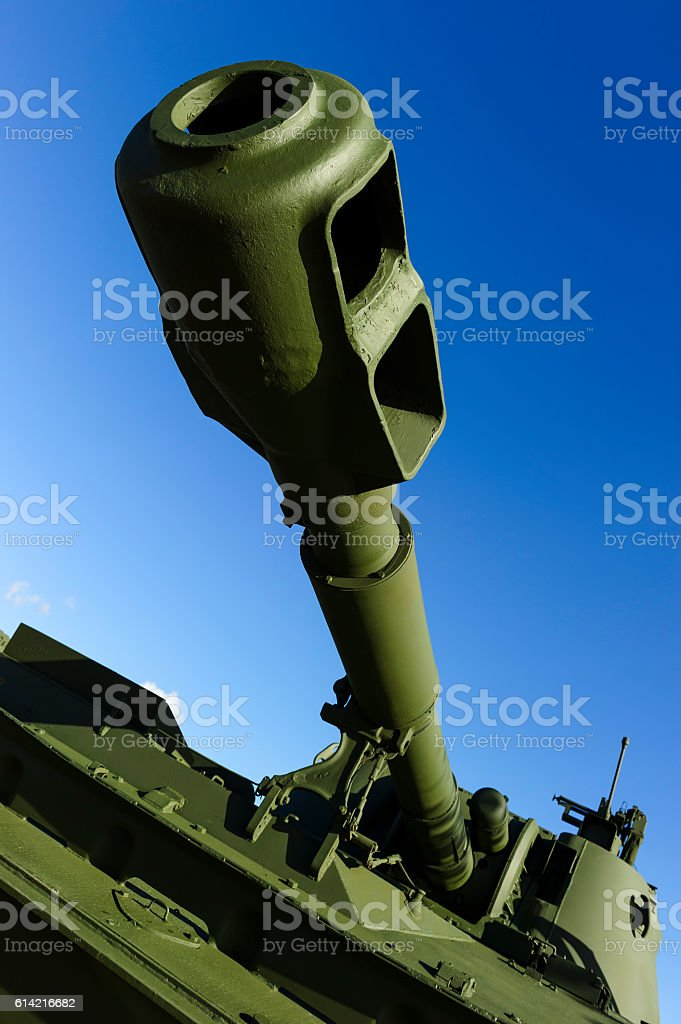 Tank cannon barrel stock photo