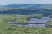 Tank Car Train Crossing Bridge