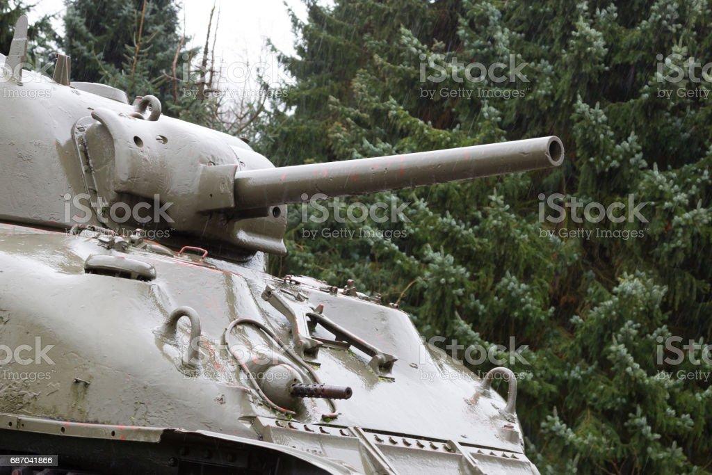 WW2 tank close-up stock photo