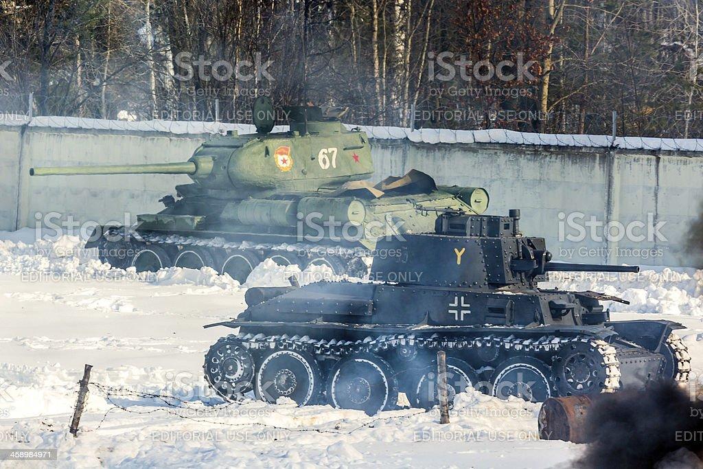 Tank confrontation.  World War II battle reconstruction royalty-free stock photo