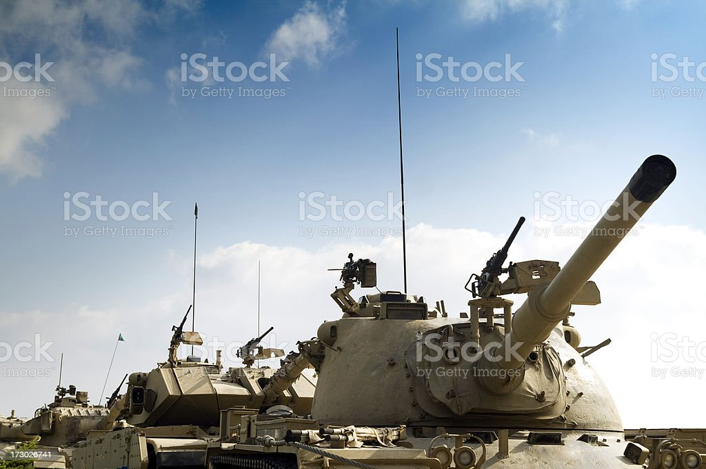 Tank Convoy with Copy Space stock photo