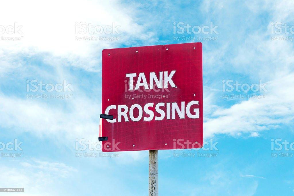 Tank Crossing Sign stock photo