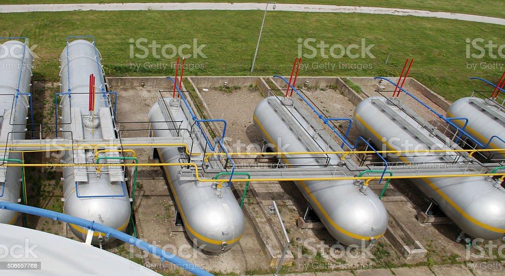LPG tank farm. Refinery, gas plant. Liquefied petroleum gas storage stock photo