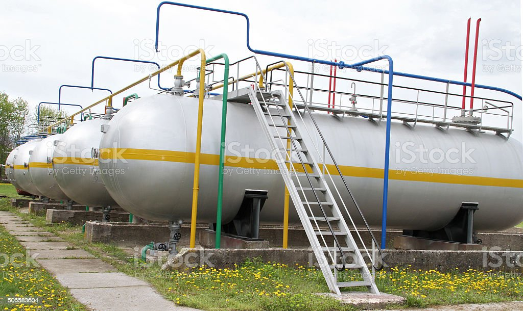 LPG tank farm. Refinery, gas plant. Liquefied petroleum gas storage stock photo