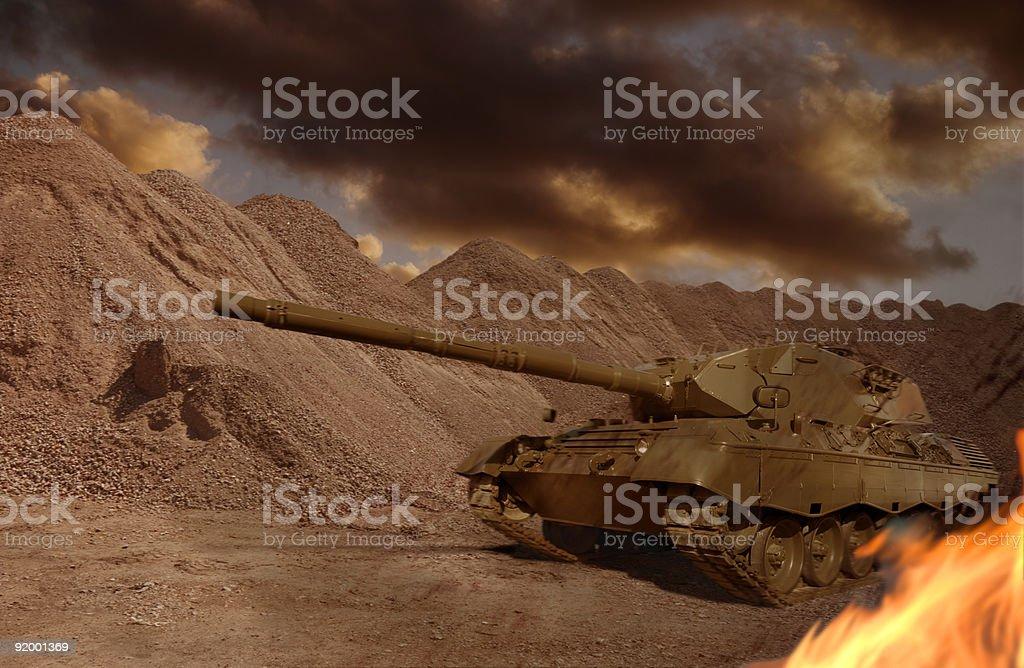 Tank Firefight royalty-free stock photo