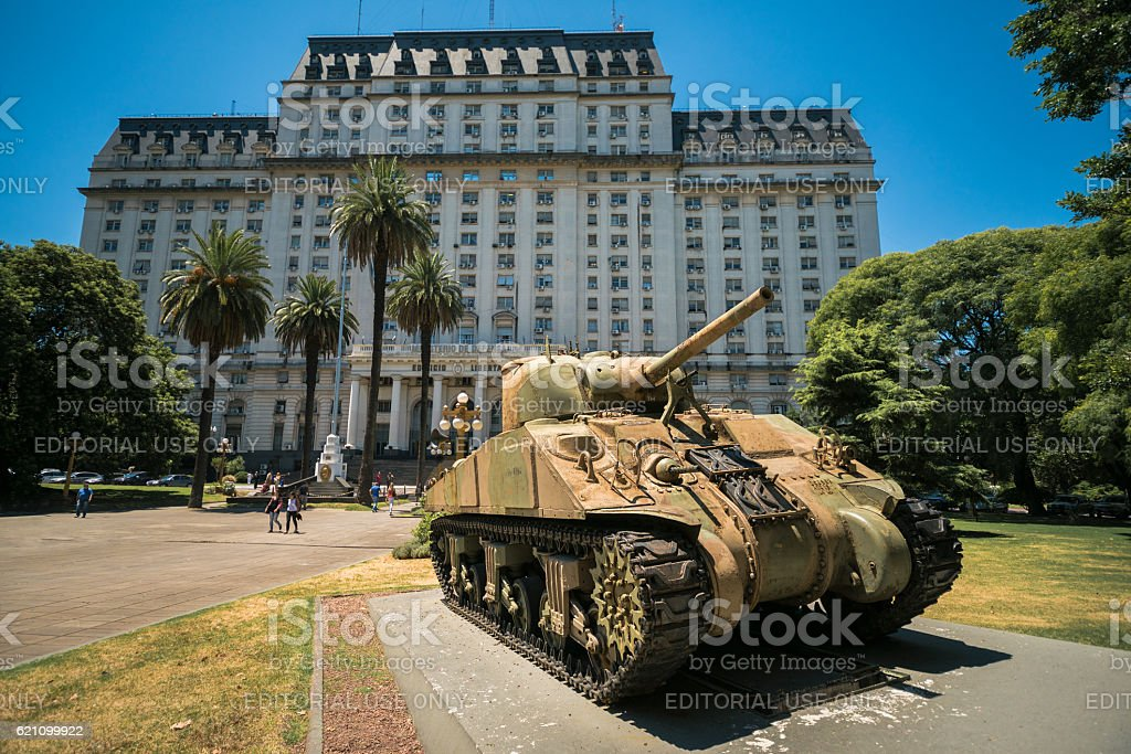 Tank in front of the Ministry of Defense of Argentina stock photo