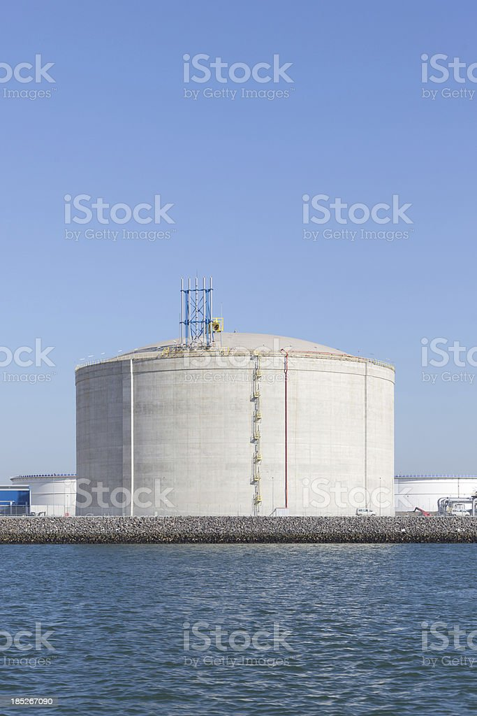 LNG tank in the Port of Rotterdam stock photo
