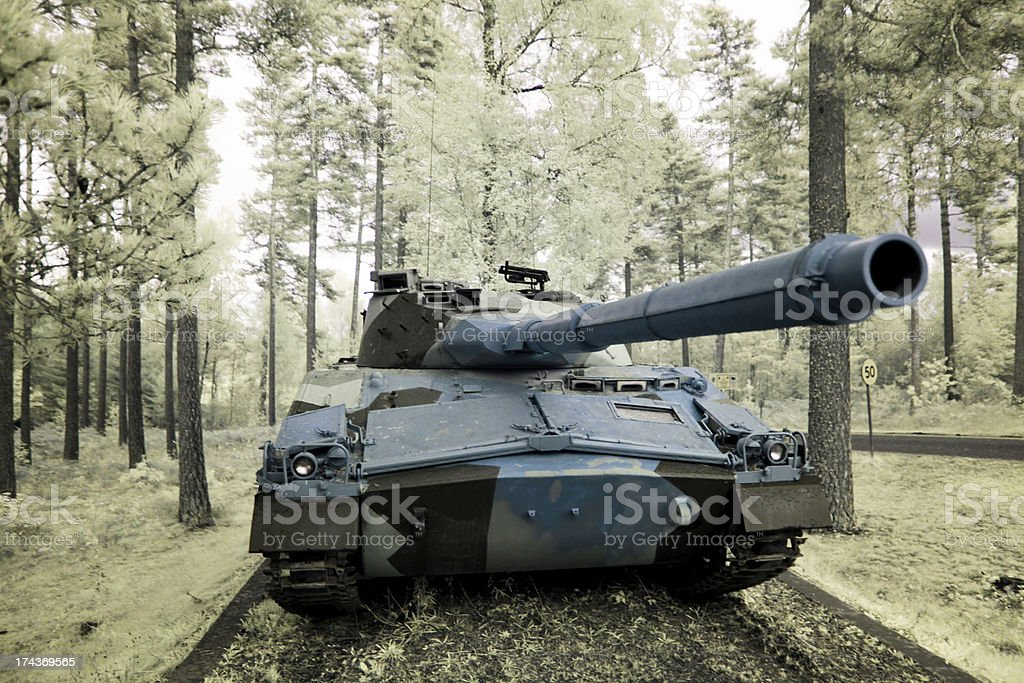 Tank in woods royalty-free stock photo