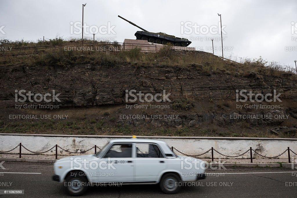 Tank monument in Shushi, Nagorno-Karabakh stock photo